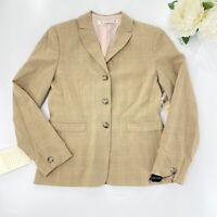 Tahari Sz 8 NWT Plaid Tan Blazer Three Button Jacket Silk Lined $299 Career
