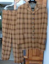 ZANETTI 7 Button COAT JACKET 42 Super 100's Wool ZOOT SUIT; Baggy PANTS Plaid