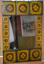 Miroir rectangulaire, cadre carreaux de céramique couleurs psychédélic .Vintage.