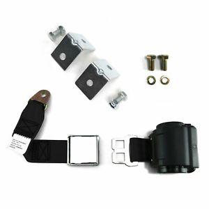 2pt Black Retractable Airplane Buckle Lap Seat Belt w/ Anchor Hardware Hot rods