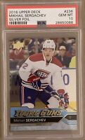2016 2017 Mikhail Sergachev FOIL PSA 10 UPPER DECK UD YOUNG GUNS ROOKIE CARD RC