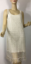 Ralph Lauren Cotton Lace Dress Petite Medium PM Pearl White Fringed Lined New