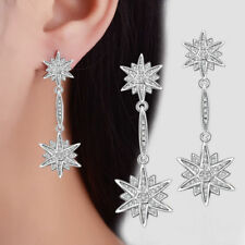 Wedding Party 925 Sterling Silver CZ Cubic Zirconia Star Ear Stud Drop Earrings