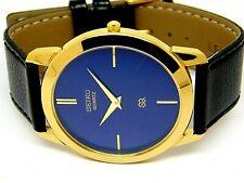 seiko quartz super slim mens gold plated nice blue dial japan made watch run
