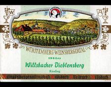 "ETIQUETTE ANCIENNE de VIN ""RIESLING"" WURTTEMBERG WILLSBACHER DIEBLENSBERG en1964"