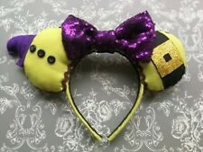 Disney Dopey, Snow White Inspired Minnie ears with a Purple sequin bow and hat