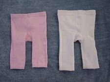 2 X Baby Girls Pink And White Tights Pants Size 000