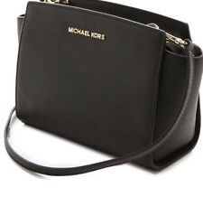 MICHAEL KORS LADIES LEATHER HANDBAG to SHOULDER hand Black Selma RRP£220