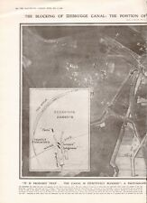 1918  ANTIQUE PRINT WW1 - AERIAL PHOTO, ZEEBRUGGE CANAL BLOCKED, SUNKEN SHIPS