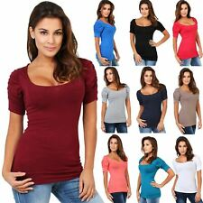 Womens Ladies Plain Blouse Scoop Neck T Shirt Short Sleeve Top Ruched Pleated