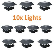10x Black 4x4 Post Cap LED Lights Outdoor Landscape Deck Patio Fence Solar Lamps