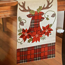 "Winter Wonder Christmas Plaid Reindeer Applique Table Runner Burlap Red 13""X72"""