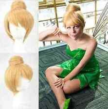 short Blonde Fairy Tinker Bell princess costume Anime Cosplay hair Wig Q17