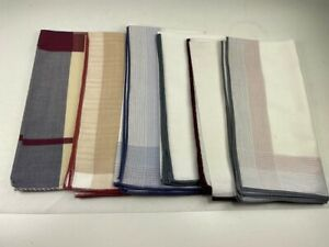"""NEW Lot of 6 Assorted 8.5 x 16"""" Cotton Pocket Square Handkerchiefs NWOT"""