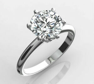 DIAMOND CERTIFIED RING 3 CARAT D VS2 ROUND EXCELLENT CUT 14K WHITE GOLD SIZE 4-9