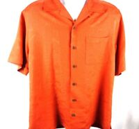 Caribbean Joe Burnt Orange with Palm trees Button Shirt Men's Size Medium