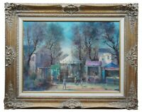 """Guy Cambier French Impressionist Oil on Canvas Carnival Circus Painting 38"""""""