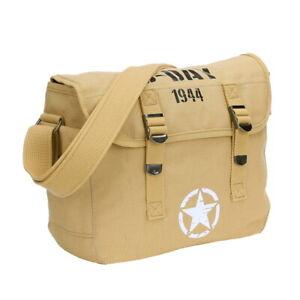 US Army Canvas Kampftasche Schultertasche Vintage WW2 D-Day 1944 Allied Star Bag