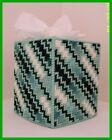 SHADES OF GREEN WHITE NURSERY HANDMADE PLASTIC CANVAS TISSUE BOX COVER TOPPER