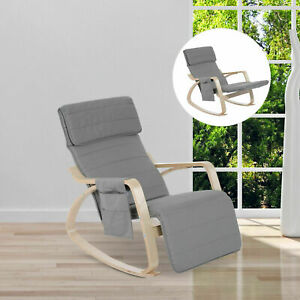 New Modern Rocking Chair Office Lounge Reading Seat w/ Padded Cushion Footrest