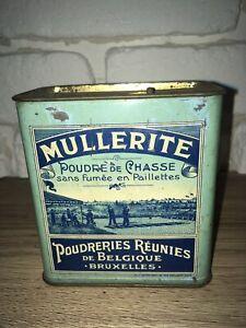 Vintage Box Can MULLERITTE powder Belgique Bruxelles Poudre Chasse