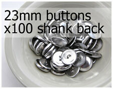 23mm self cover metal BUTTONS SHANK backs (sz 36) 100 QTY + FREE instructions