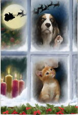 New Lg Evergreen Christmas Flag Cocker Spaniel Dog & Kitten I Spy Santa 29 X 43