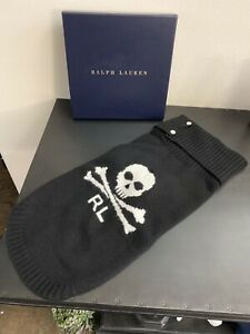 Ralph Lauren Skull 100% Cashmere Dog Sweater L