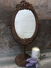 VANITY DRESSING TABLE MAKE UP MIRROR FRENCH VINTAGE SHABBY CHIC METAL SWING