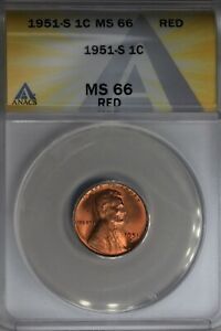 1951-S  .01  ANACS  MS 66 RED  Lincoln Head Cent, Lincoln One Cent