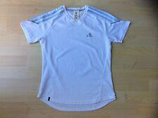 ADIDAS Ladies Classic White T Shirt with Blue Stripes , Size: UK 10