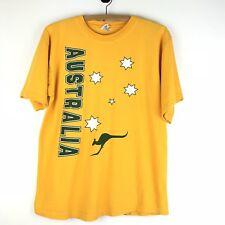 Australia T Shirt Medium Kangaroo Stars Yellow Gold Green Gooses Short Sleeve t6
