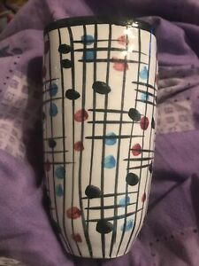 VINTAGE ITALIAN POTTERY MID CENTURY MODERN COLOURFUL VASE MADE IN ITALY 8""