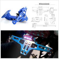CNC Blue Adjustable Motorcycle License Plate Holder Bracket w/LED License Light