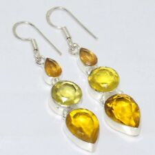 """B885 Citrine Quartz .925 Sterling Silver Plated Earrings Jewelry 2.5"""""""