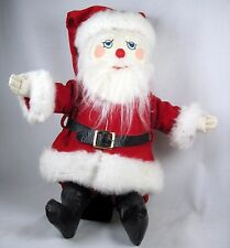 """Blue eyed Soft Santa Embroidered Face Classic Red Coat and Hat Mohair Beard 15"""""""
