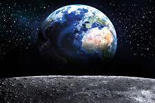 GREAT ART Aussicht vom Mond auf die Erde Wanddekoration - Wandbild Planet Motiv