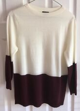 EUC  Talbots PETITE  Ivory  Red Wine 3/4 Sleeves Pull Over Sweater Sz Mp