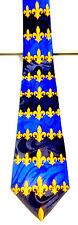 NEW FLEUR DE LIS NEW ORLEANS BLUE & GOLD NECKTIE NECK TIE STEVEN HARRIS SLEEVED