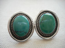 Green Turquoise Earrings 58775 C. Chama Sterling Silver