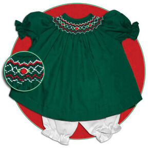 """Rosalina's Green & Red Bishop Dress fits 15"""" American Girl Bitty Baby - New"""