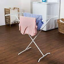 Metal X-Frame Folding Clothes Drying Rack Lightweight For Laundry Room - White