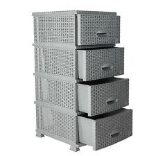 Kommode in Rattan Optik Regal mit Schubladen Kunststoff Rattan Möbel