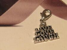 LOBSTER CLIP ON 'LIVE LOVE LAUGH' CHARM - SUIT CARRIER BRACELET