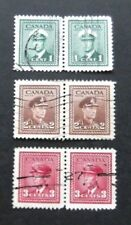 Canada-1942-1c, 2c &3c issues in Joined pairs-Used