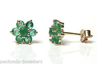 9ct Gold Emerald cluster stud Earrings Gift Boxed Made in UK Birthday Gift