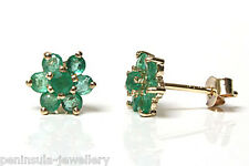 9ct Gold Emerald cluster stud Earrings Gift Boxed Made in UK Christmas Gift Xmas