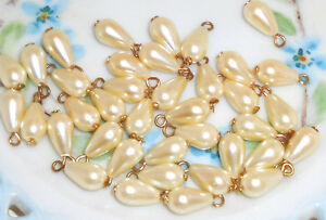 Vintage Beads Drops Dangles Teardrop Pearl Japan Charm Charms Ivory NOS #961