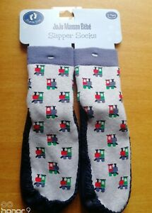 JoJo Maman Bebe Moccasin Slipper Socks 2-4 Years Train Design Suede Sole