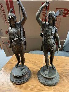 Antique Spelter Gladiator Statues - Set Of 2.  #660-661